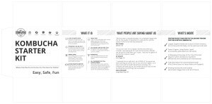 Product packaging, custom packaging graphic design kombucha