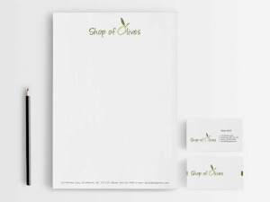 Business Card, Letterhead, Envelope, logo Design shop of olives