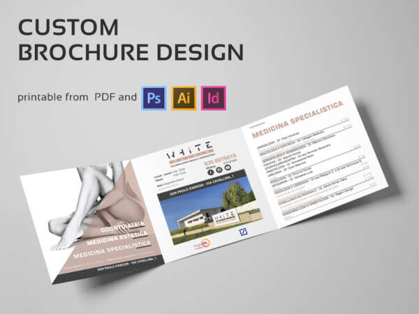 white clinic trifold brochure